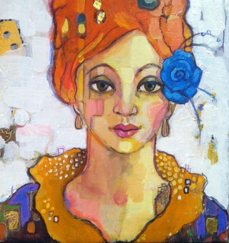Girl with Blue Ro... by Juliette Belmonte #acrylic #painting #art…