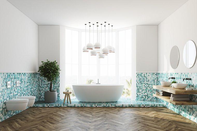 Arredare casa idee originali bagno con pavimento in legno pareti