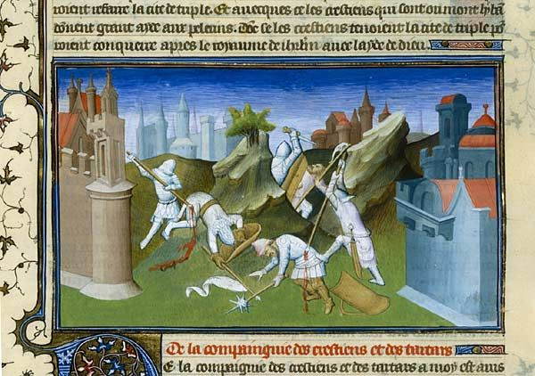 Battle between the Crusaders and Saracens    Marco Polo, The Book of Wonders of the World , France (Paris), to 1410-1412 Paris, BnF, Manuscripts Department, French 2810, fol. 266