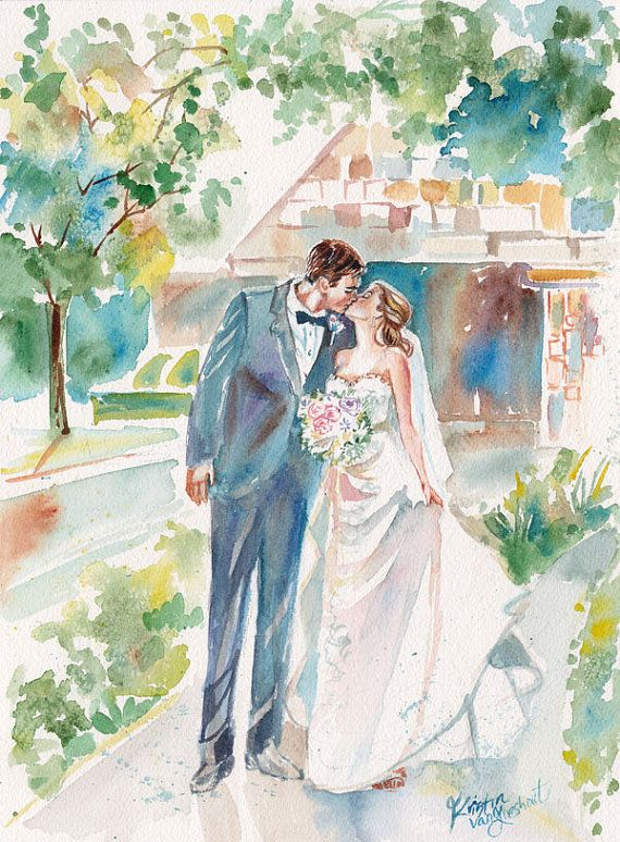 Paper Anniversary Watercolor Portrait By Simplyartbykristin