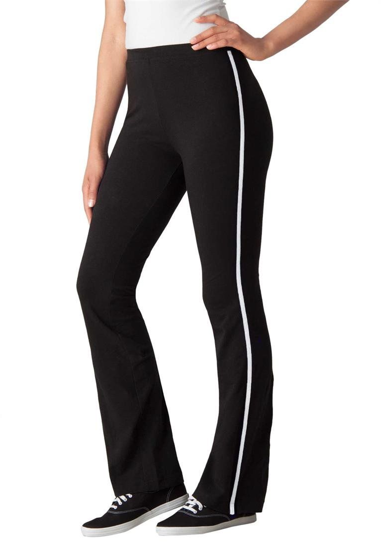 96b45a3aa719b Women s Plus Size Tall Stretch Bootcut Yoga Pants With Side Stripes Black.  bootcut silhouette is