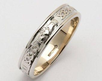 Gents Claddagh Corrib Claddagh Wedding Band R127-S di CelticLink