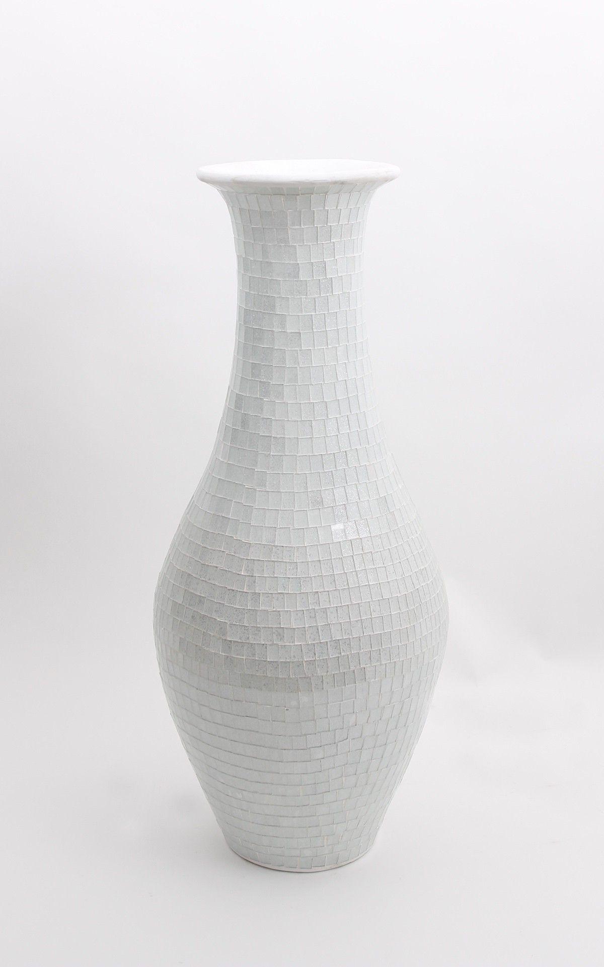 Tall Floor Vase With Glass Mosaic Cm Ceramic White Office - Ceramic tall floor vases