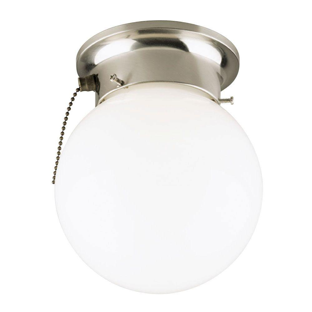 Westinghouse 1 light brushed nickel interior ceiling flushmount with westinghouse 1 light brushed nickel interior ceiling flushmount with pull chain and white glass globe arubaitofo Gallery