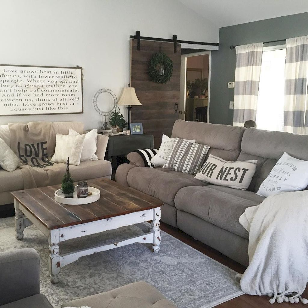 Striped Denim And Linen Curtains Grey Couch Dark Wood Tabletop With White Washed Country Chic Living Room Farm House Living Room Rustic Farmhouse Living Room