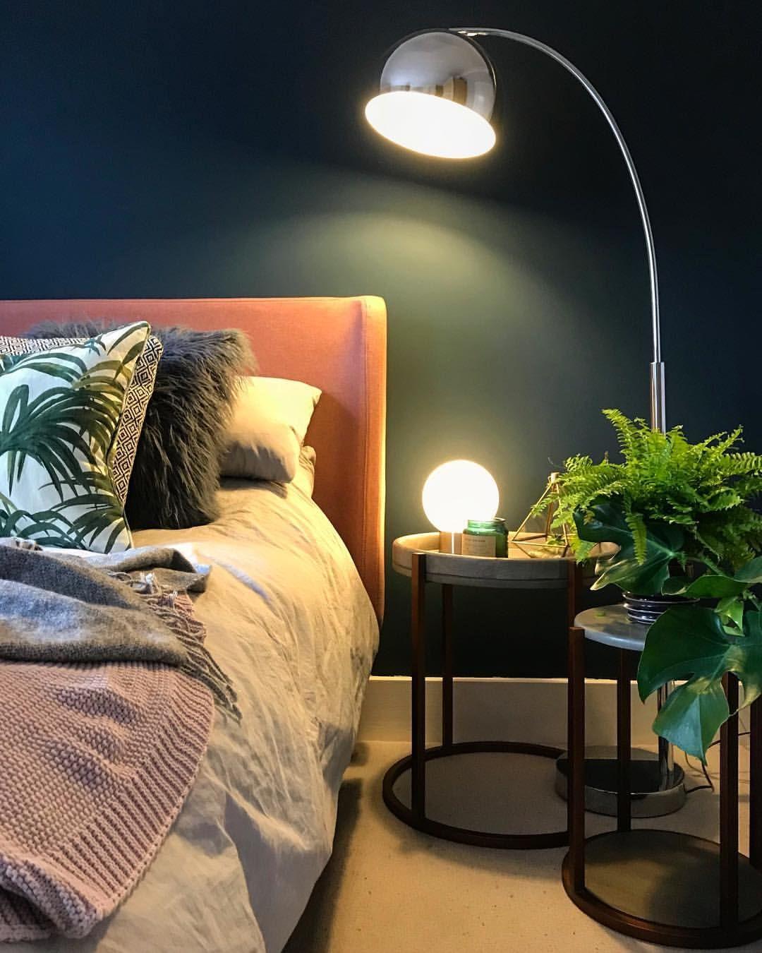 Statement lighting in dark blue bedroom farrow ball - Bed made of balls ...