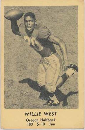 1958 Oregon Junior Halfback Willie West Www Sportingoregon Com Old Baseball Cards Baseball History Dodgers Baseball