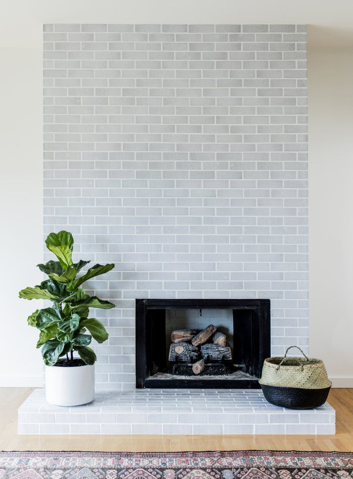 White Mountains Glazed Brick Fireplace Plays It Cool Installation Gallery Fireclay Tile Fireplace Tile Fireclay Tile Brick Fireplace Makeover