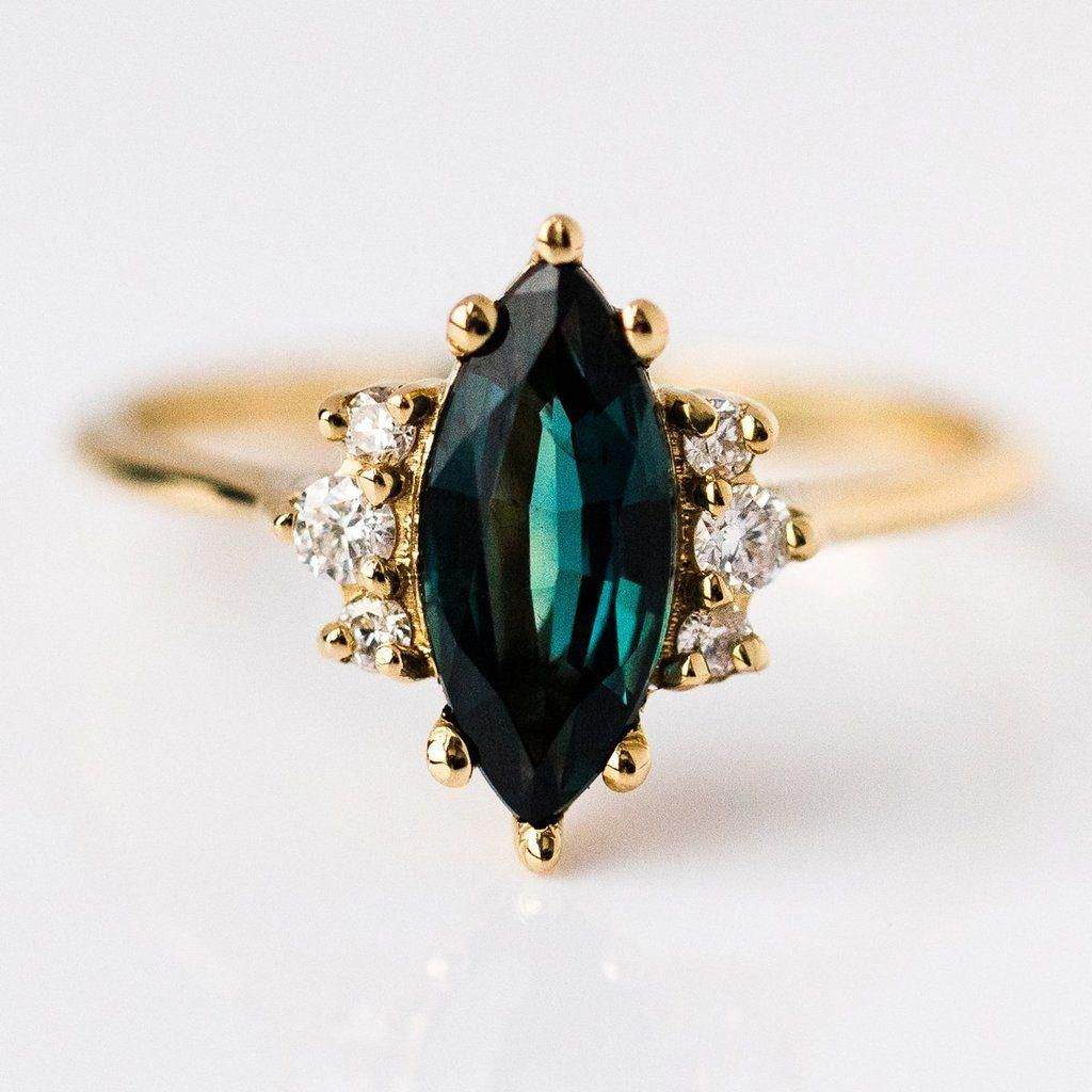 18K Yellow Gold Teal Marquise Sapphire Ring with Diamonds