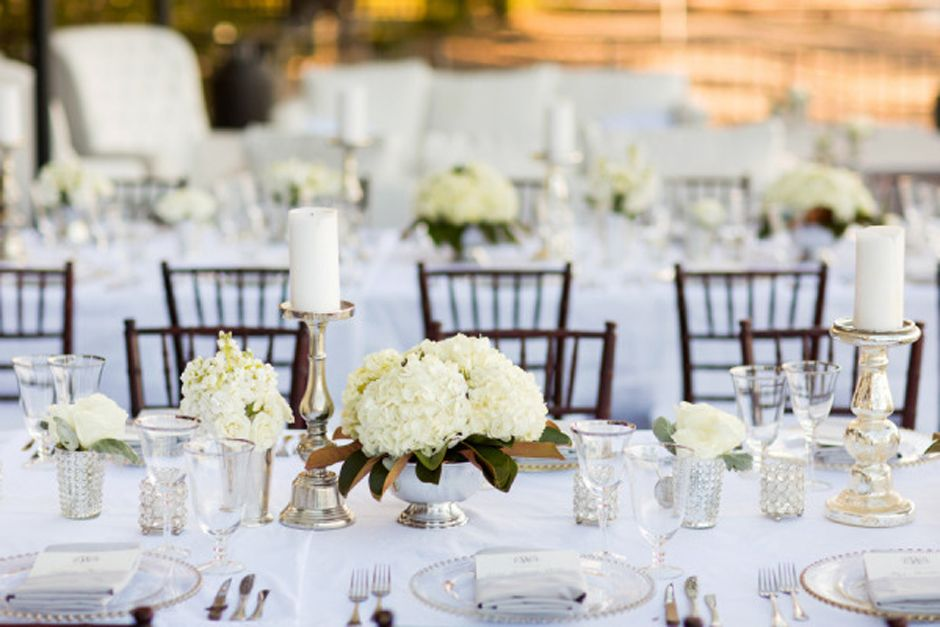 All White Wedding Reception With Dark Walnut Chiavari Chairs