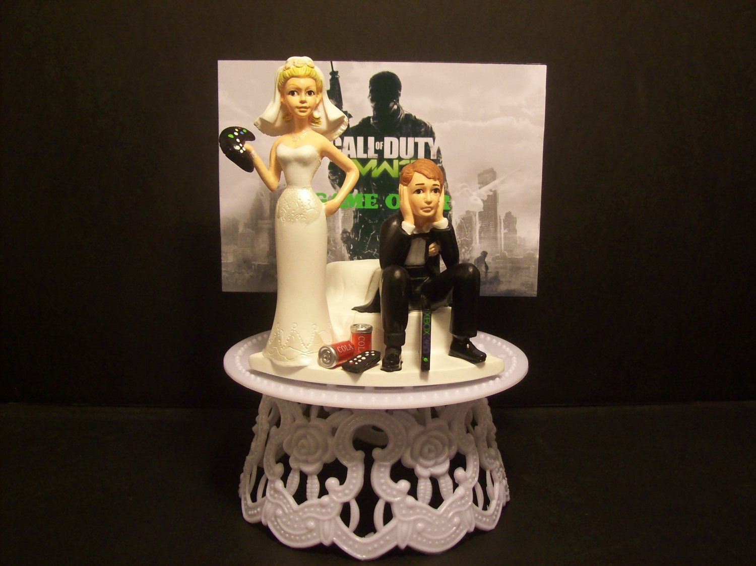 Got The Controller Video Call Of Duty Modern War 3 Mw3 Bride And Groom Funny Wedding Cake Topper