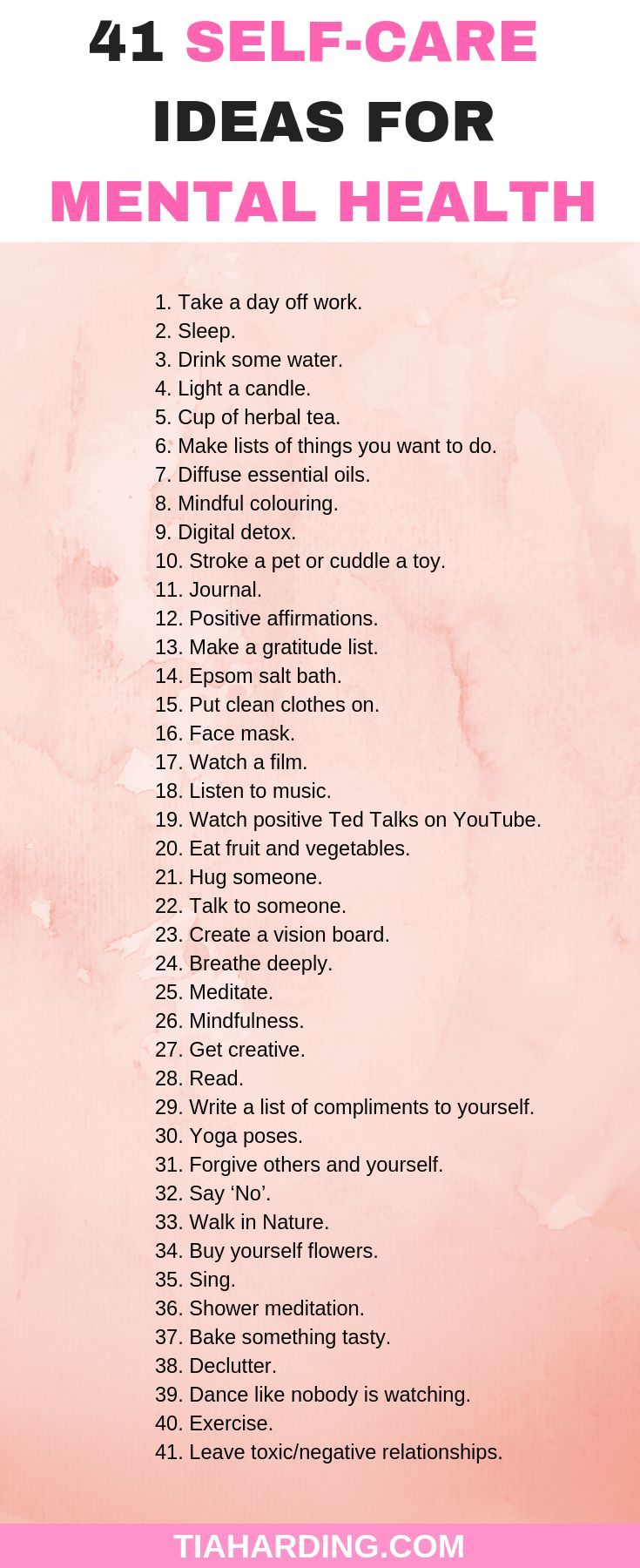 Use these 41 selfcare ideas to improve your mental health and wellbeing
