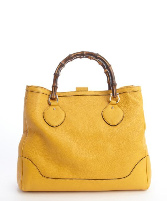 Gucci Mustard Leather Diana Bamboo Handle Tote Bag