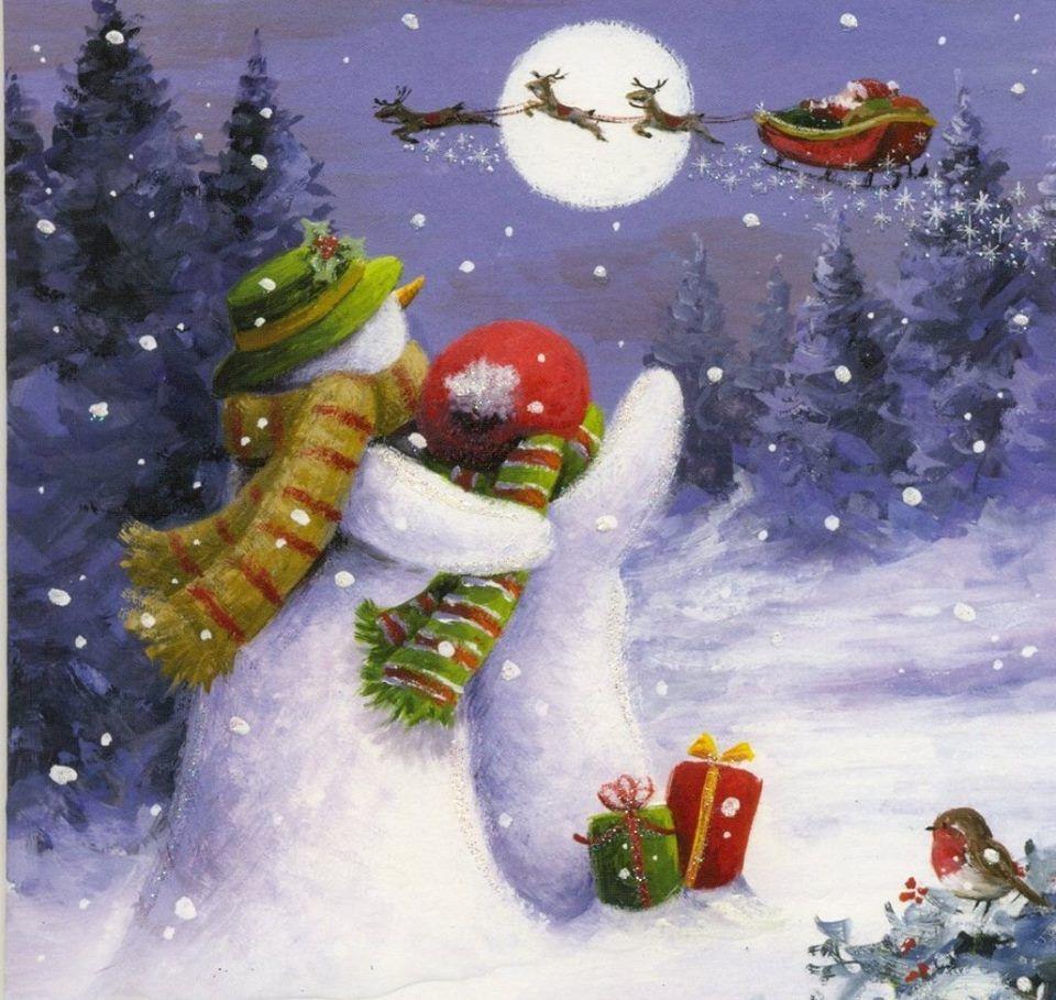Snowman Snow Christmas Santa