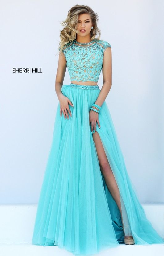 Blue Beaded Lace Appliques Sherri Hill 50110 Two Piece 2016 Open Back Cap  Sleeves Tulle Long Slit Prom Dresses