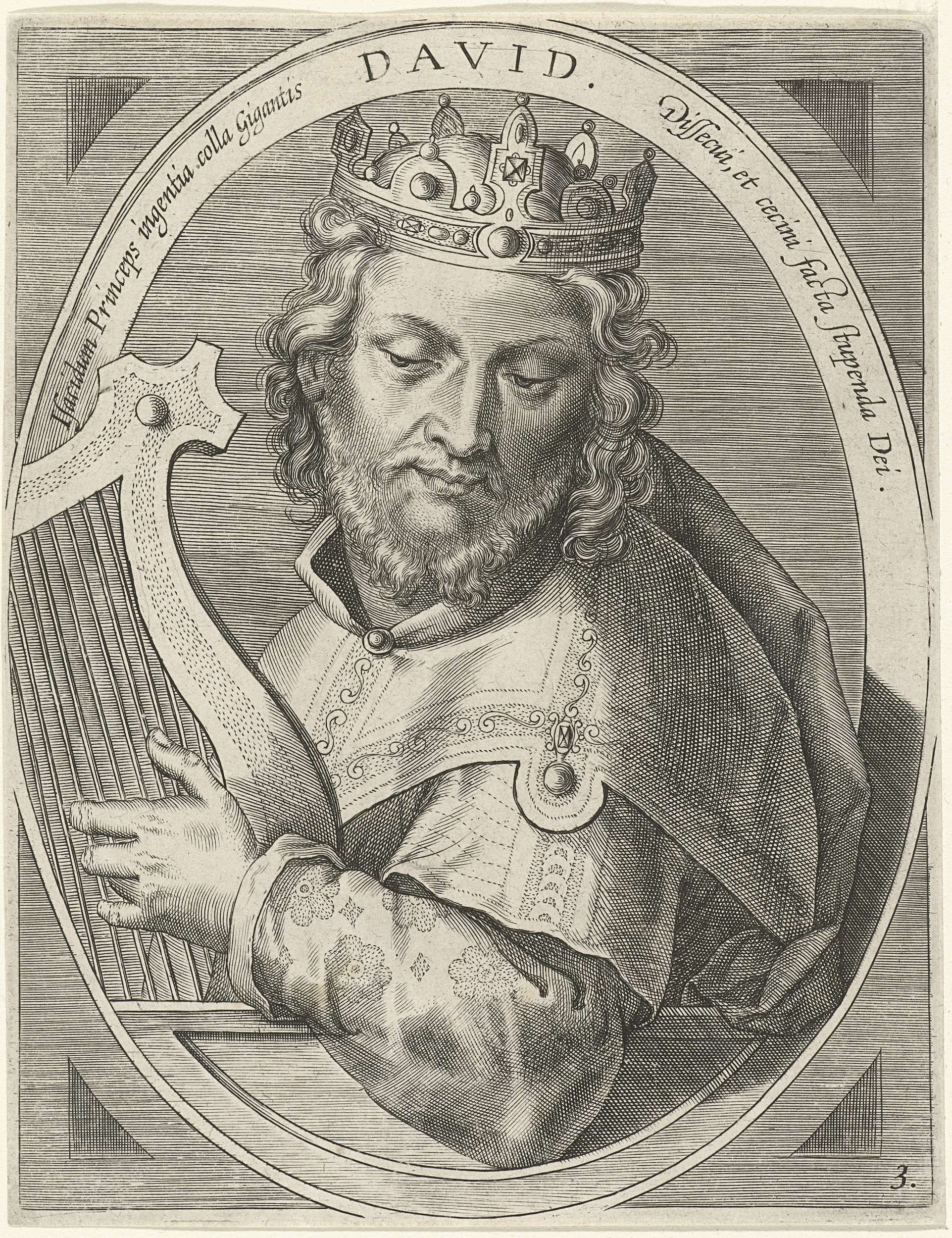 Cornelis Galle (I) | David, Cornelis Galle (I), Jan van der Straet, Theodoor Galle, 1613 | Koning David, met kroon en harp, in ovaal met Latijns randschrift.
