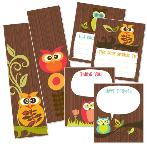 Free owl printable book marks and thank you cards