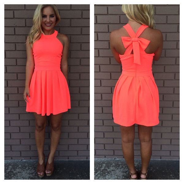 9411ebfbe49f Neon Coral Cross Bow Back Dress