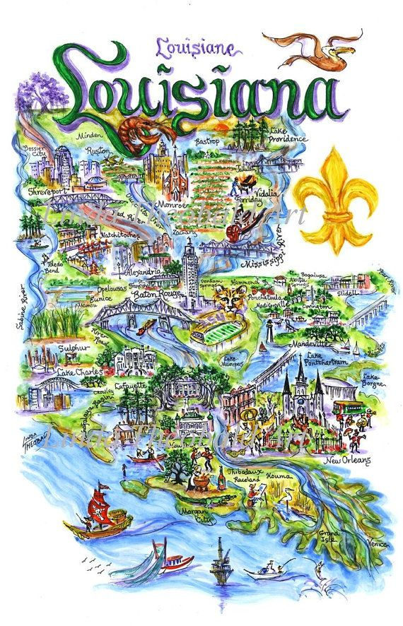 State of Louisiana Illustrated Art Print-Choice of Mat Color Included. $44.50, via Etsy.