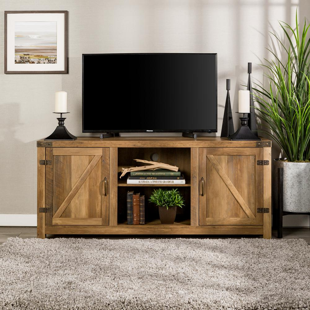 Walker Edison Furniture Company 58 In Rustic Oak Barn Door Tv Stand