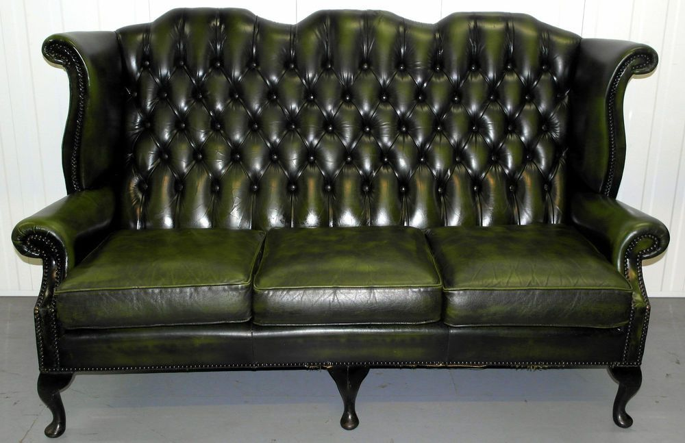 VINTAGE CHESTERFIELD LEATHER THREE SEATER QUEEN ANNE SOFA NATIONWIDE  DELIVERY In Home, Furniture U0026 DIY, Furniture, Sofas, Armchairs U0026 Suites |  EBay