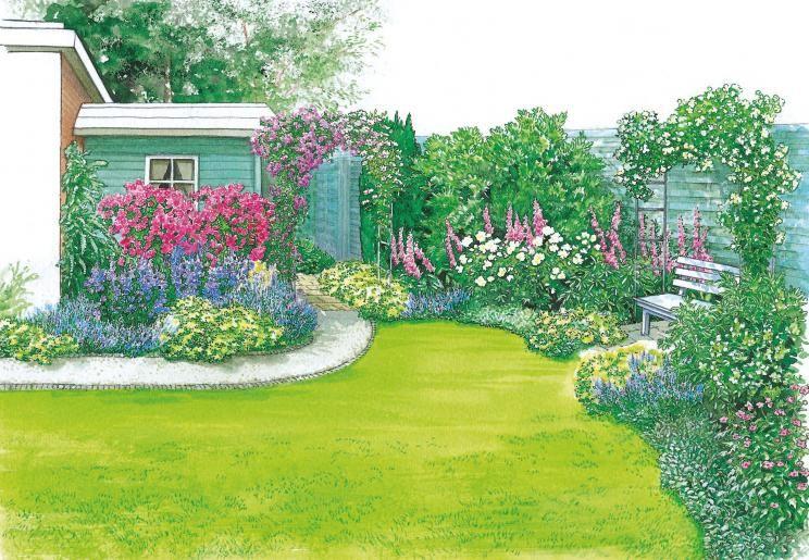 Rosenbogen Und Blauer Holzzaun Succulent Landscape Design Garden Shrubs Hardscape Design