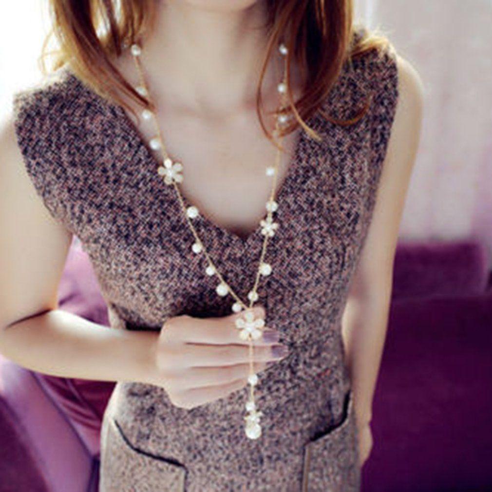 Women/'s Elegant Pearl Flower Sweater Chain Long Pendant Necklace Elegant Jewelry