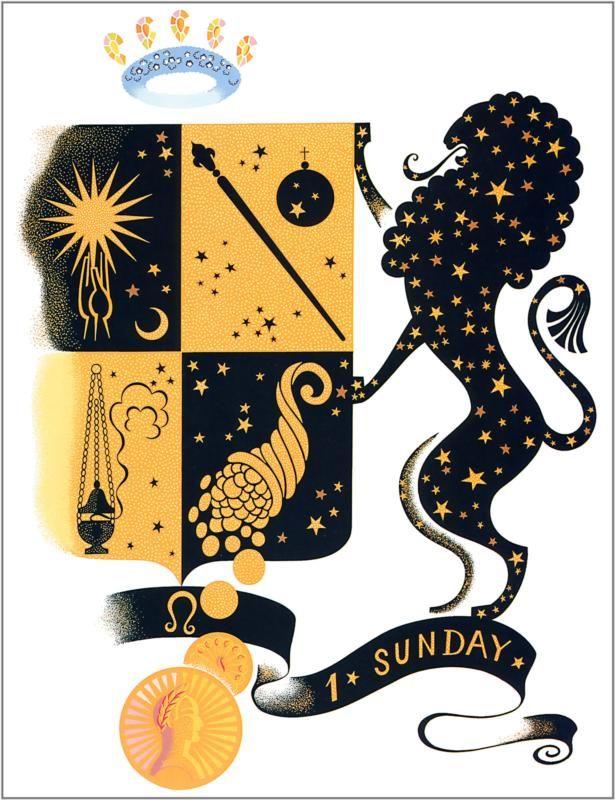 The Zodiac, Leo  Artist: Erte