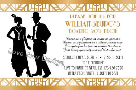 Great Gatsby Top Hat Roaring 20's Prom or Birthday Invitation ...