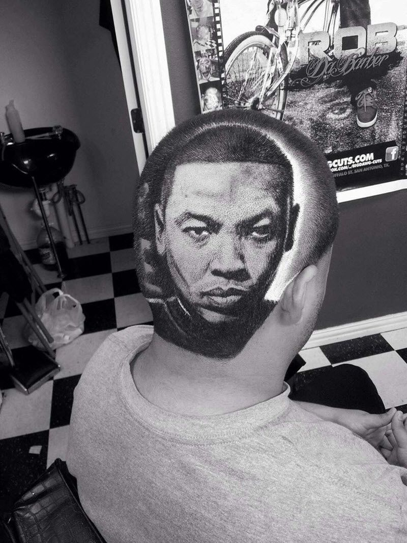 Bowl cut haircut men celebrity portraits using the technique of hair tatto drdre