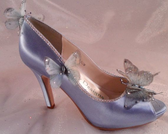 cd0df77838d Bride's Butterfly Wedding Shoes, Blue Butterfly Bridal Heels ...