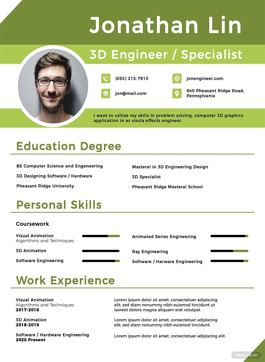 Free Engineering Student Fresher Resume Template in 2020