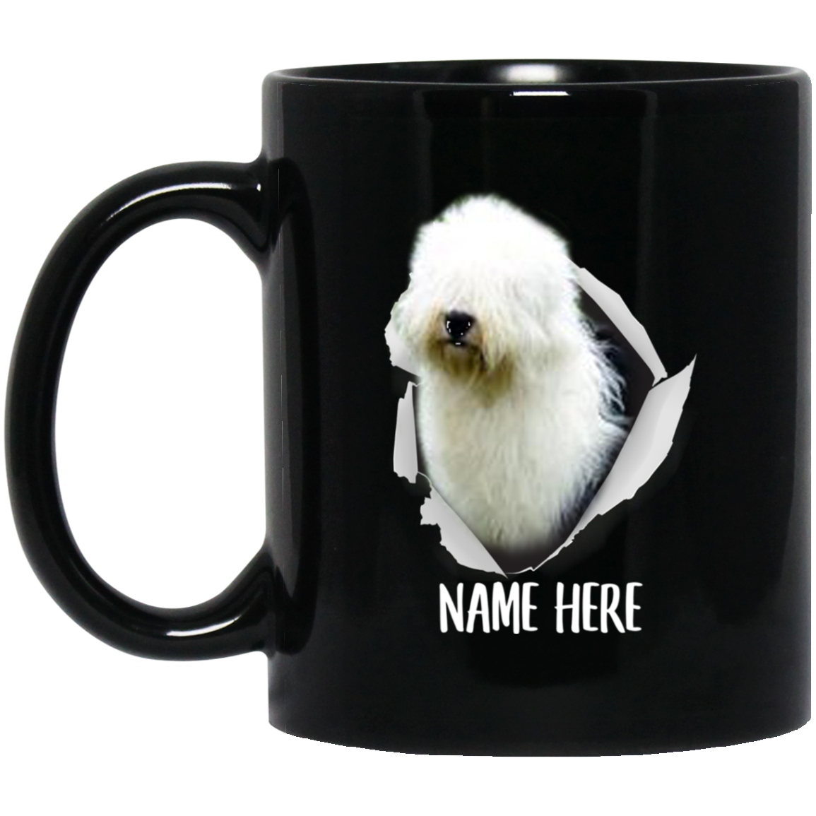 Funny Personalized Old English Sheepdog Blue Custom Name