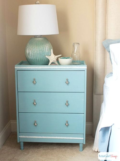 Coastal IKEA RAST Dresser Makeover In Aqua Blue, With Added Rope Molding  And Feet: