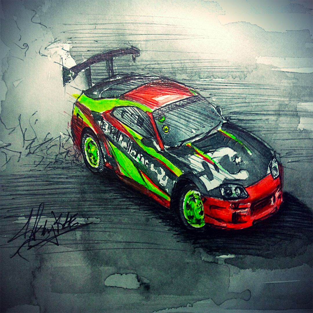 Quick Water Colour Sketch For Team Driftmonkey, Toyota Supra
