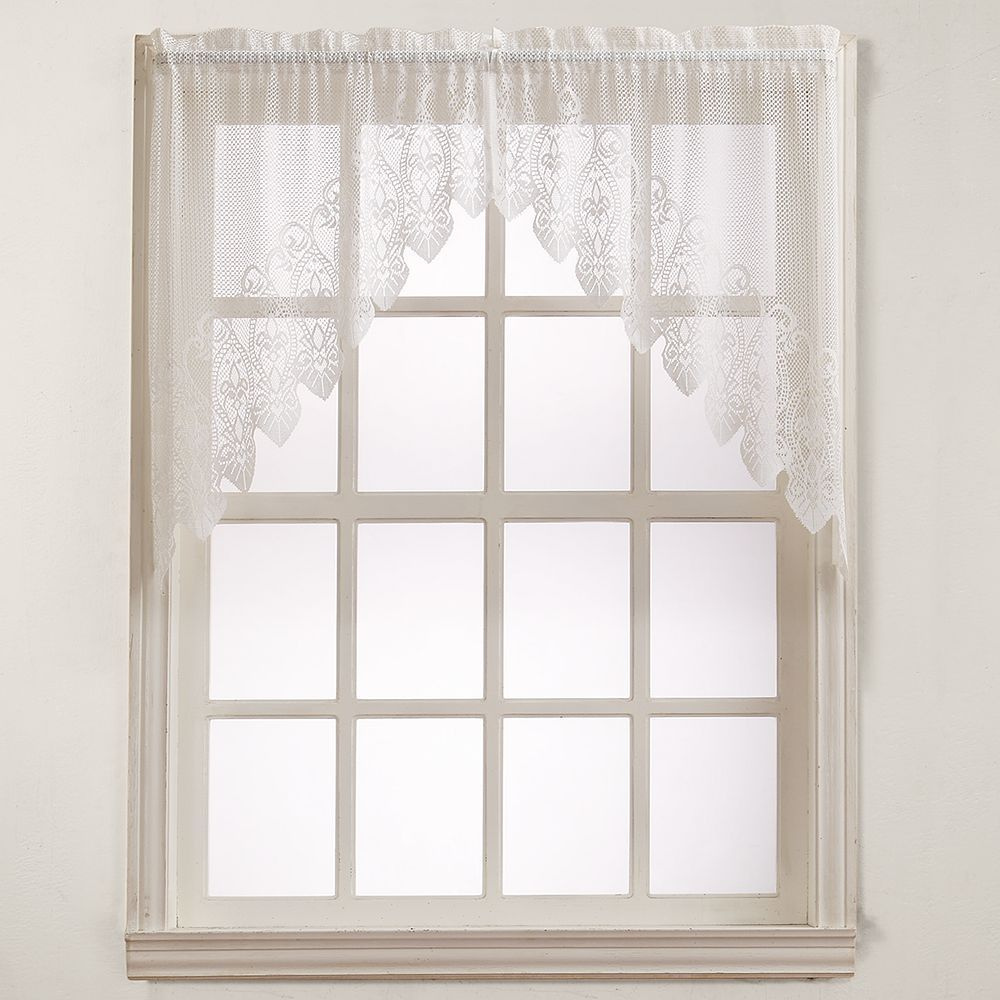 Kitchen window curtain  No Joy Lace Swag Kitchen Window Curtain  uu x uu BeigGreen