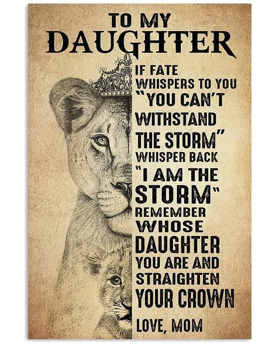 to my daughter. if fate whspers to you you can't w