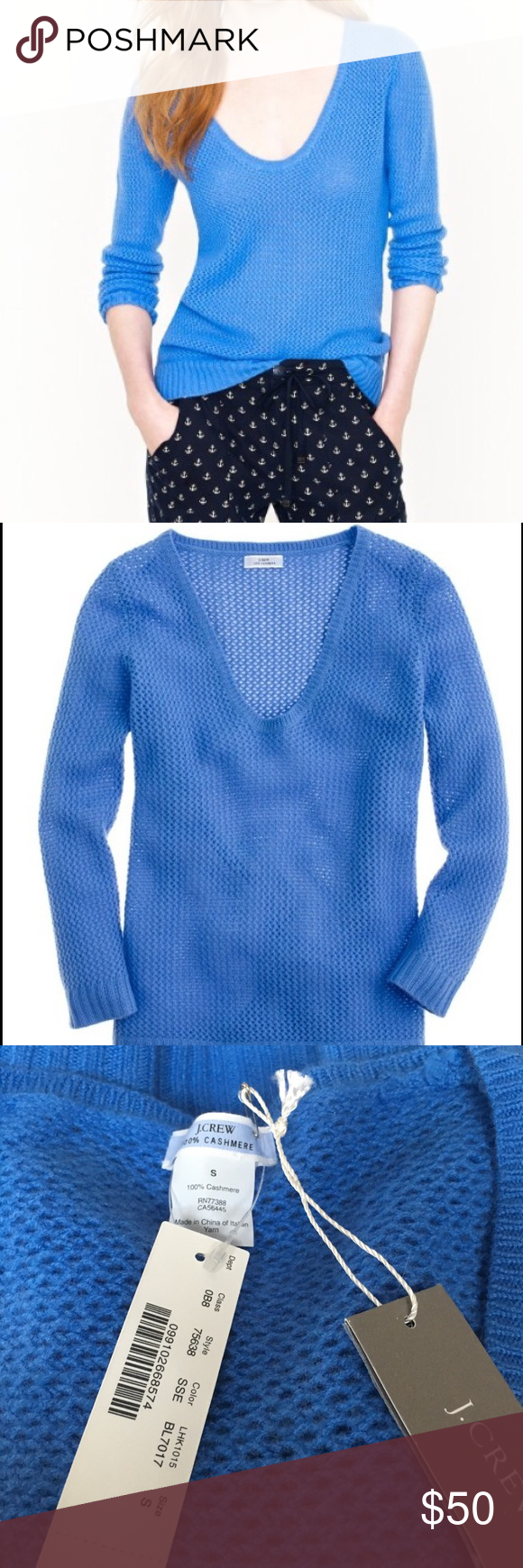 J. Crew Cashmere Pointelle V Neck Sweater NWT | Cashmere sweaters ...