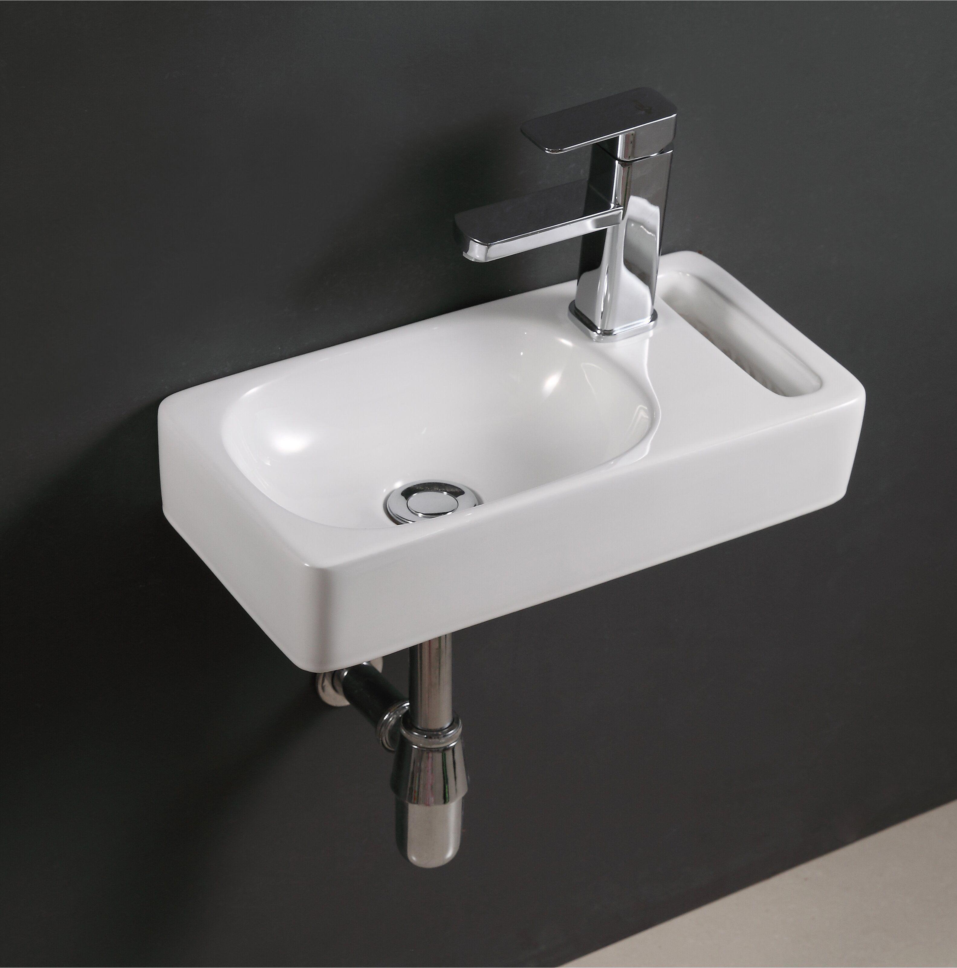 Ceramic 17 Wall Mount Bathroom Sink In 2021 Wall Mounted Bathroom Sink Small Bathroom Sinks Bathroom Sinks For Sale [ 3200 x 3166 Pixel ]