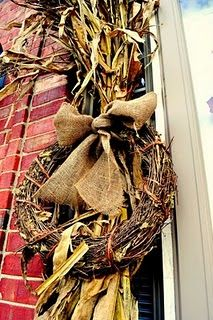 cornstalks and grapevine wreath with burlap