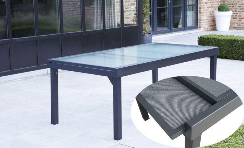 Table de jardin rectangulaire, extensible en aluminium gris ...