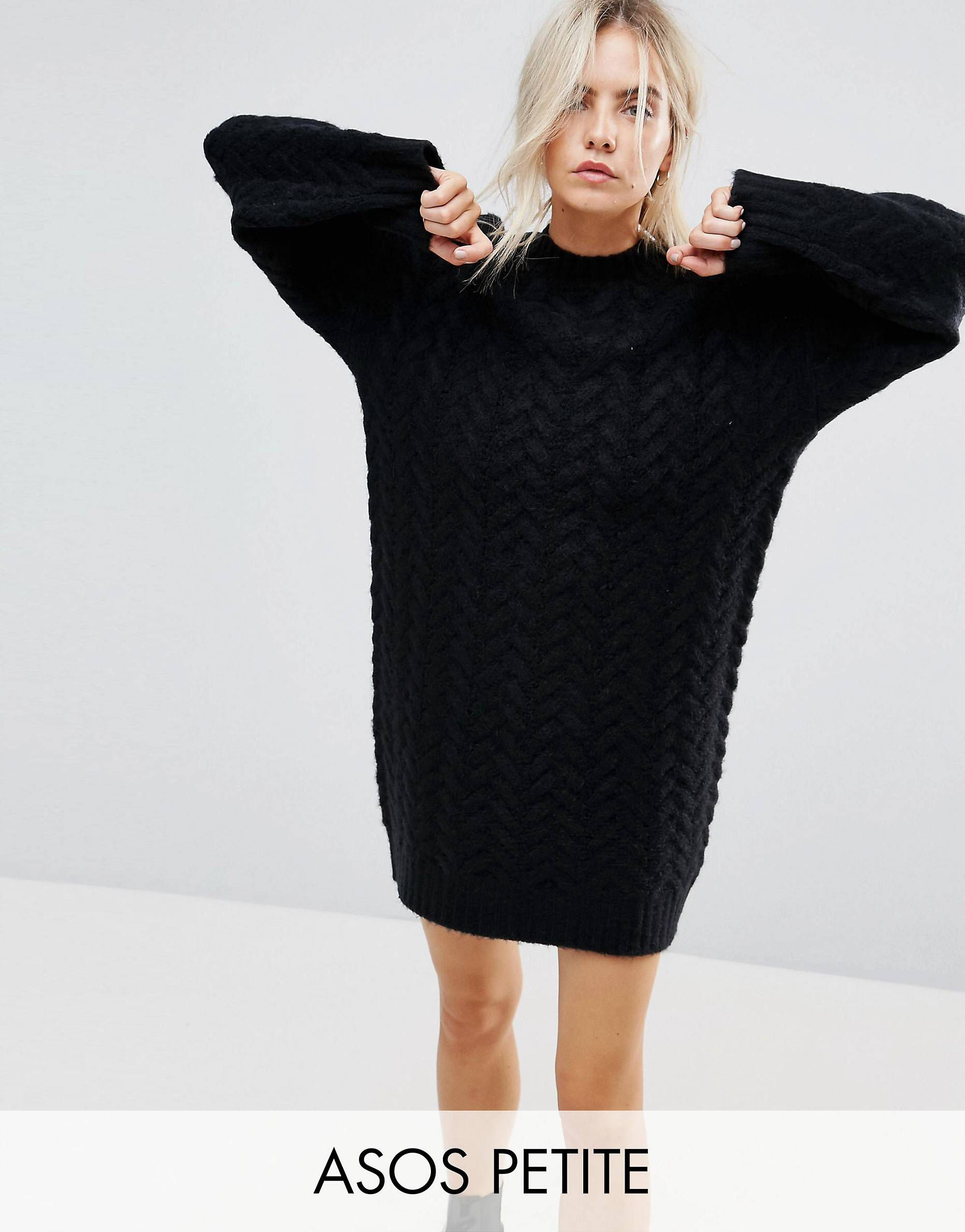 17fe4226a PETITE Oversized Knitted Dress with Cable Detail