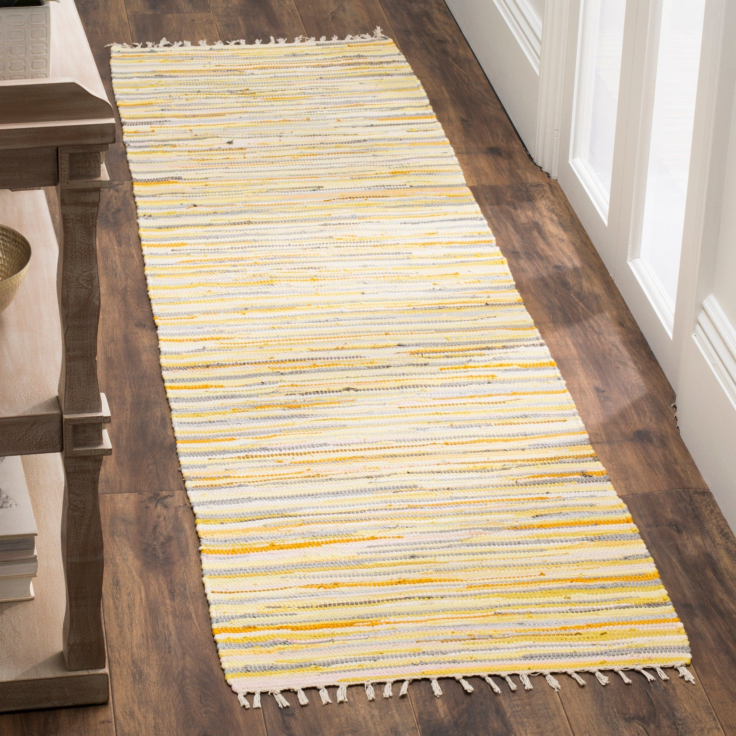 Safavieh Rag Rug Transitional Stripe Hand Woven Cotton Gold