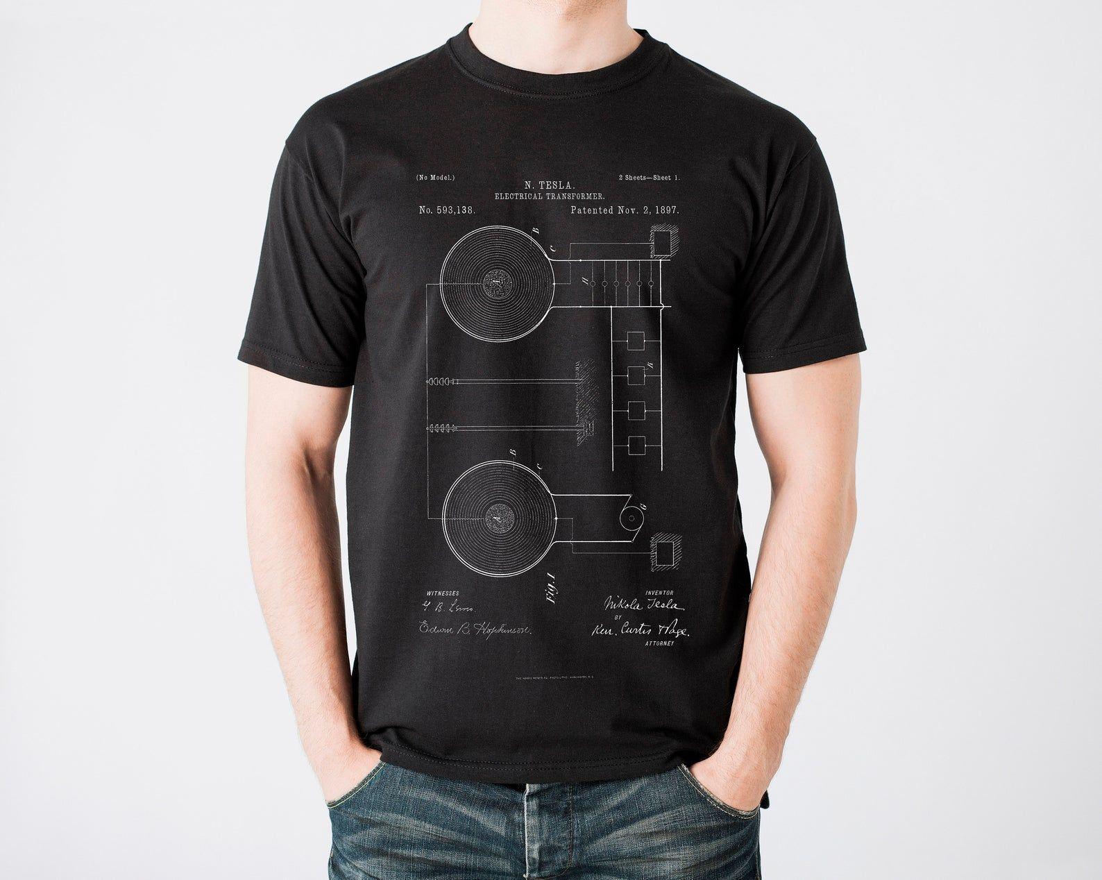 Tesla Patent TShirt, Tesla Electrical Transformer Shirt