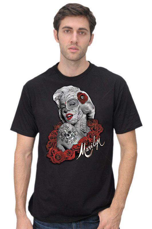 Men's Dia De Los Muertos Marilyn Sugar Skull Style Roses Classic Pin Up Tattoo T-Shirt by OrangeDesignStudio on Etsy https://www.etsy.com/listing/159570170/mens-dia-de-los-muertos-marilyn-sugar