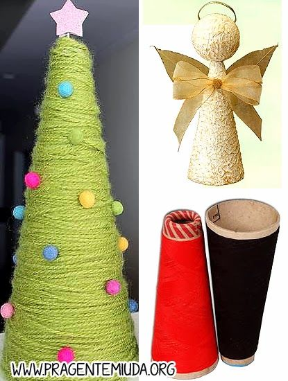 Artesanato De Natal Reciclado ~ Enfeites de natal com reciclagem de cones de linha Natal Pinterest Cone, Enfeites de natal