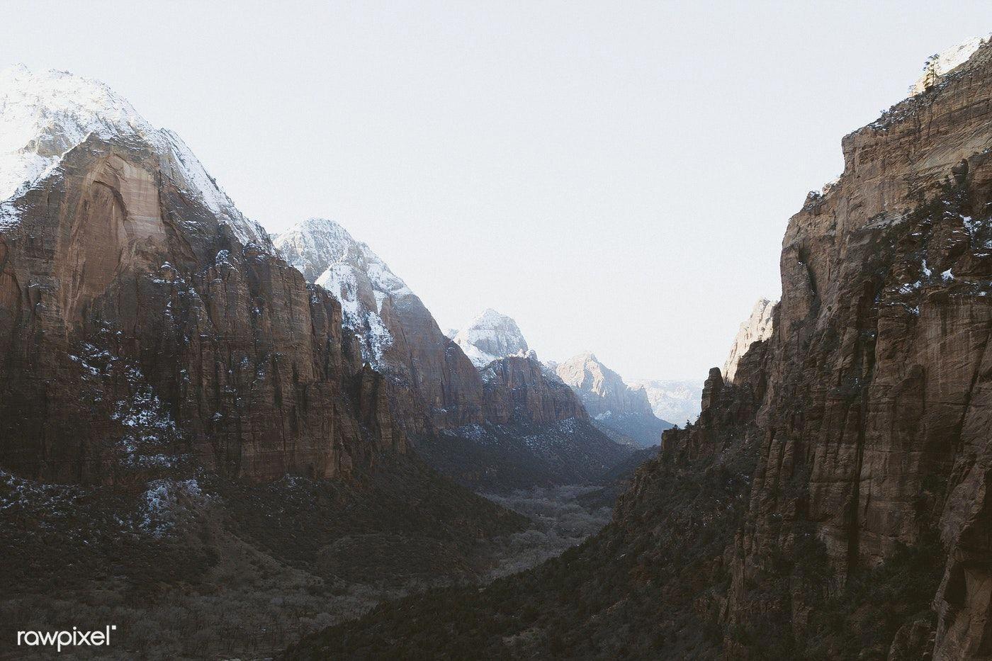 View of Zion National Park in Utah, USA | free image by rawpixel.com / HB Mertz #utahusa
