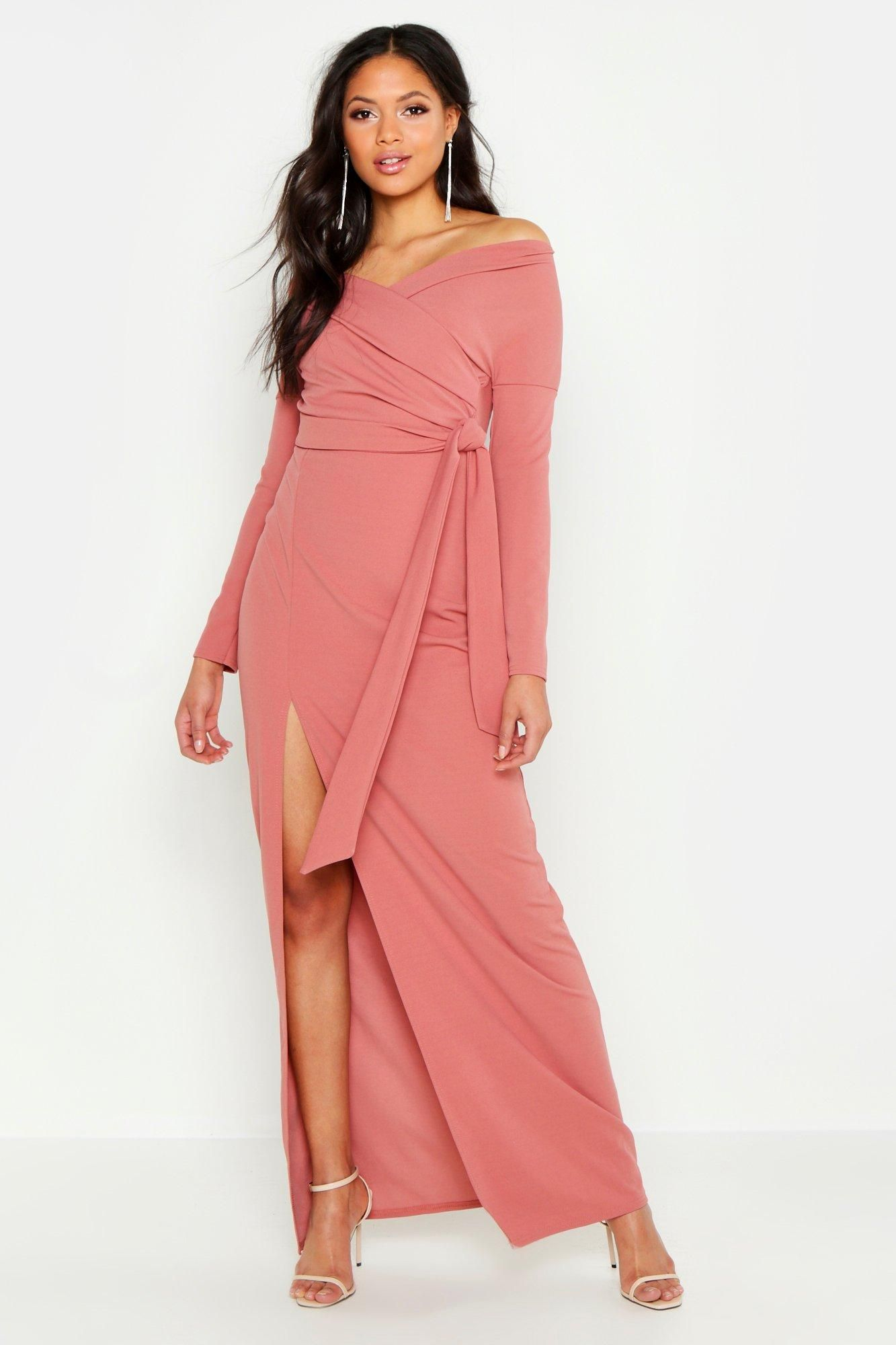 Tall Off The Shoulder Thigh Split Maxi Dress Boohoo Split Maxi Dress Pink Maxi Dress Maxi Dress Collection [ 2000 x 1333 Pixel ]