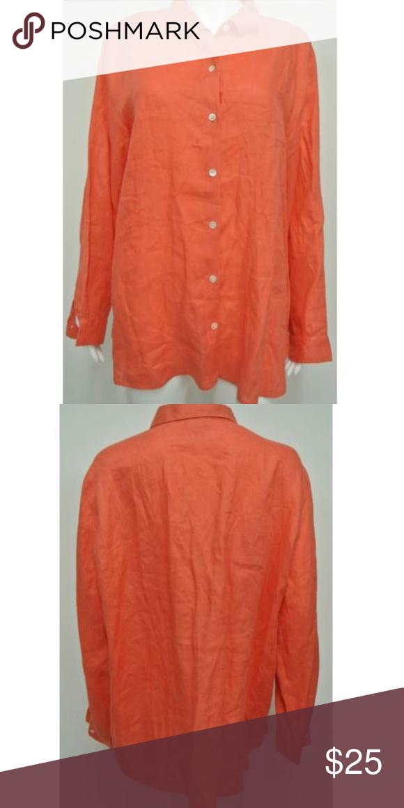 J Jill Love Linen Orange Blouse Size L My Posh Closet Orange