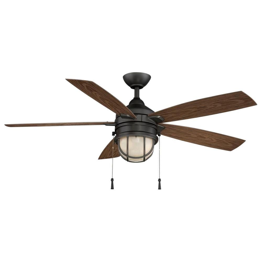 Hampton Bay Seaport 52 In Led Indoor Outdoor Natural Iron Ceiling